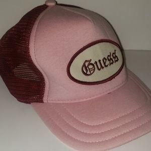 Guess Vintage Trucker Hat Pink Adjustable One Size